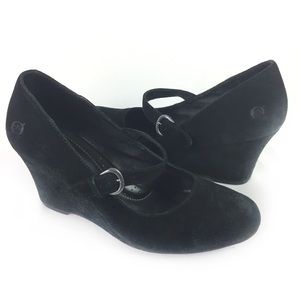 BORN | suede wedge Mary Jane 9 black